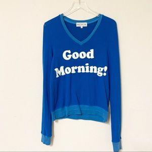 Wildfox | Good Morning V-Neck Sweatshirt | XS